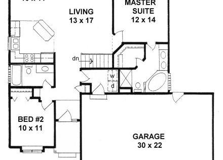 Plan 1112 Ranch Style Small Narrow Lot House Plan W 3