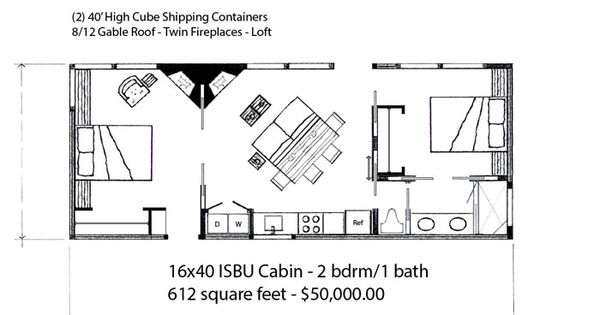 16x40 2 Bdrm Cabin Web House Plans Pinterest Best