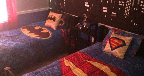 Unique Batman Vs Superman Bedroom Ideas That Rock: Batman Vs. Superman Themed Bedroom. Hand Painted City