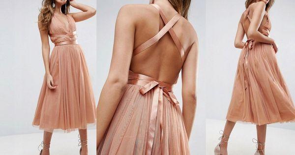Sukienka Midi Tiulowa Rozkloszowana Maya Wesele 44 7799908800 Oficjalne Archiwum Allegro Backless Dress Formal Dresses Fashion