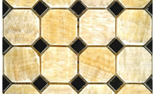 2x2 Honey Onyx Polished Octagon Pattern Onyx Mosaic Tile 5 8 Black