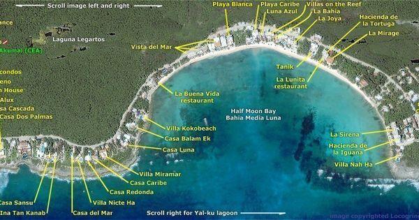 Riviera Maya and Area Maps   Akumal bay and Half moon bay