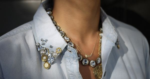 My next DIY project: embellished chambray shirt collar