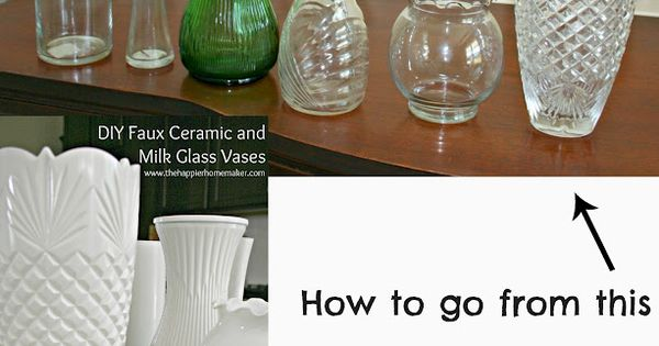 spray paint vases with glossy cream to make milk glass vases