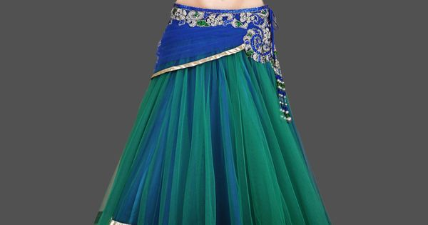 Blue And Green Lehenga Choli Peacock Colors Hand