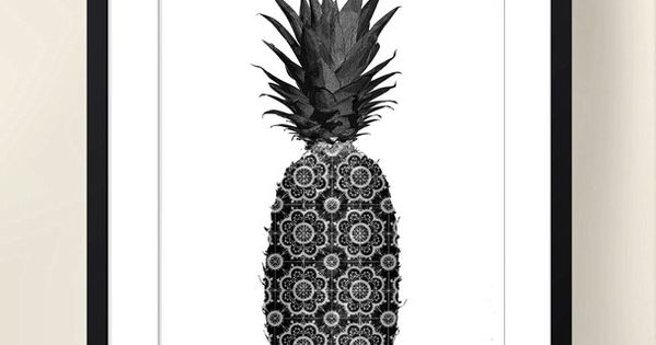 affiche poster noir et blanc graphique ananas format a4 affiches illustr es affiche et. Black Bedroom Furniture Sets. Home Design Ideas