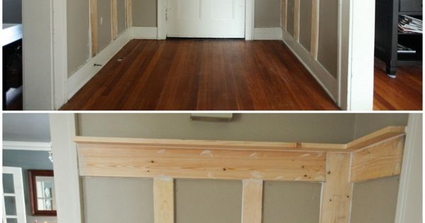 How to add wood wall treatments. Love this idea for the mud