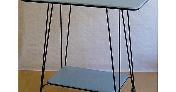 Desserte roulante vintage 1960 meuble tv bleue noire table - Table roulante design ...