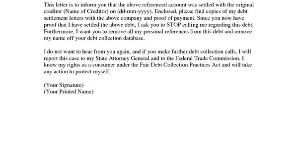 collection settlement letter