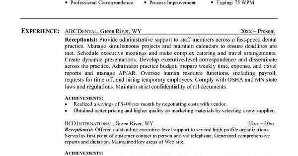 resume for receptionist http resumesdesign