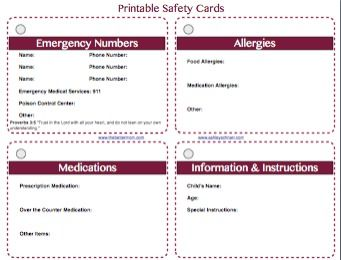 Free Printable Safety Cards For Your Children Sewing For