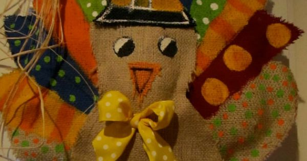 Burlap Thanksgiving door hanger