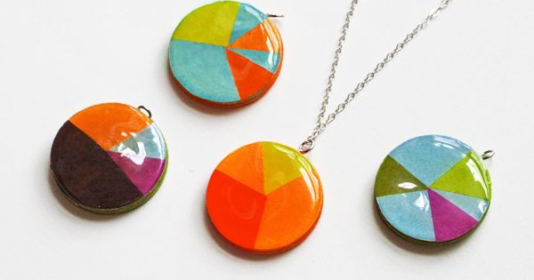 Make pie chart paper pendants | How About Orange, craft, recycle, diy,