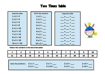 Simple Two Times Table Worksheet Free Times Tables Worksheets Teaching Multiplication