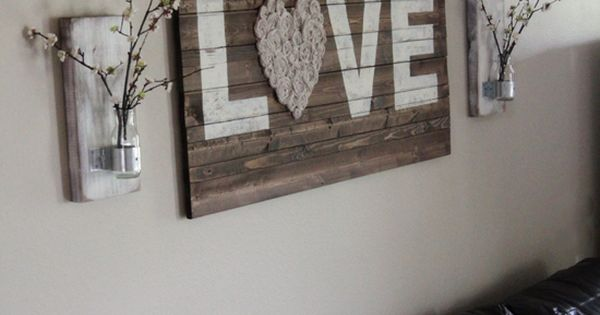 wall vases + pallet art.