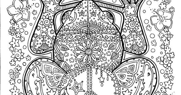 Instant Download Peace Frog Coloring Page Easy To Use