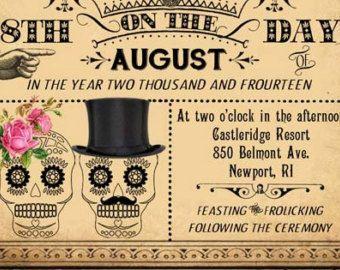 Wedding Invitation Templates Day Of The Dead Wedding Invitations Using An Exc Steampunk Wedding Invitation Victorian Steampunk Wedding Skull Wedding Invitation