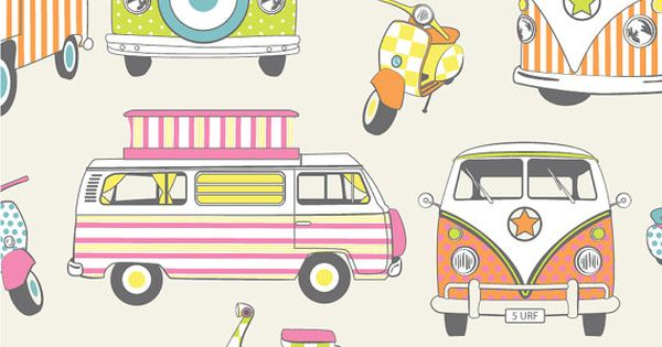 Vw camper vans motorbikes scooters cotton print retro for Childrens curtain fabric by the metre