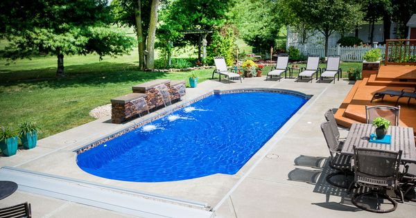 This Backyard Has A Cathedral Fiberglass Pool Design By Thursday Pools It Is Medium At 14x33 Swimming Also Fea