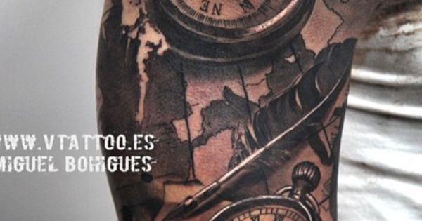 Map tattoo compass clock insp pinterest tatueringar for Renaissance tattoo san clemente