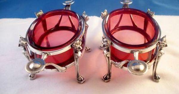 Vintage Pair Silver Master Salt Cellars Cranberry Glass