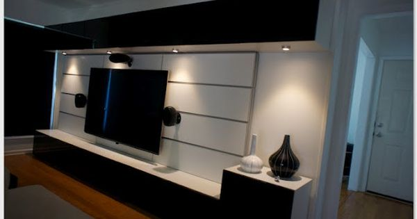 great entertainment center created with ikea besta and framsta home theater and audio. Black Bedroom Furniture Sets. Home Design Ideas