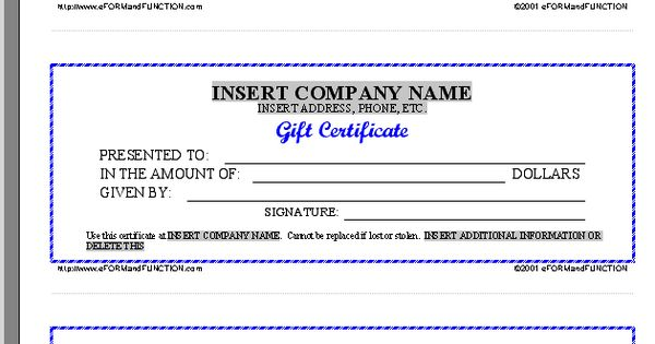 Free Printable Gift Certificate Forms Certificates Sheet