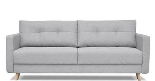 Furniturer Canape Droit Convertible 3 Places Tissu Gris Scandinave L 218 X P 92 Cm Canape Lit Canape Scandinave Canape Scandinave 3 Places
