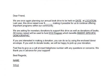 Program Specific Fundraising Letter