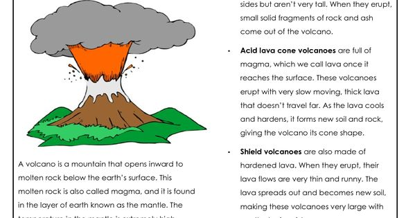 Parts Of A Volcano Printable Volcano Worksheets Places
