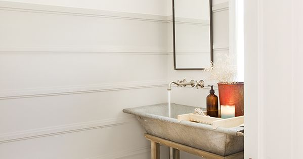 Powder Room with rustic tub vessel sink on wood stand
