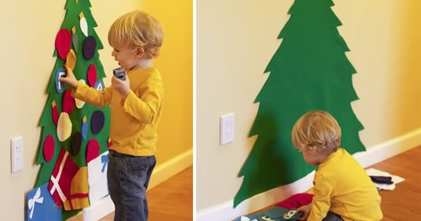 very cute idea! Felt Christmas tree that a toddler can decorate over