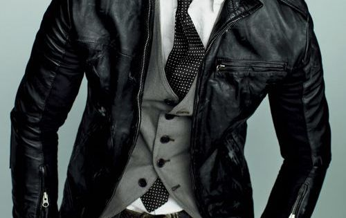mens fashion layered suit and leather