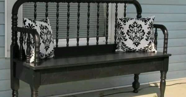 Repurposed bed into bench : diy : Pinterest : Repurposed, Bench and Furniture ideas