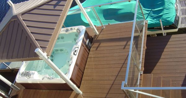 Awesome hot tub deck, with super cool COVANA cover.   Hot Tub Ideas   Pinterest   Hot tubs, Tubs ...