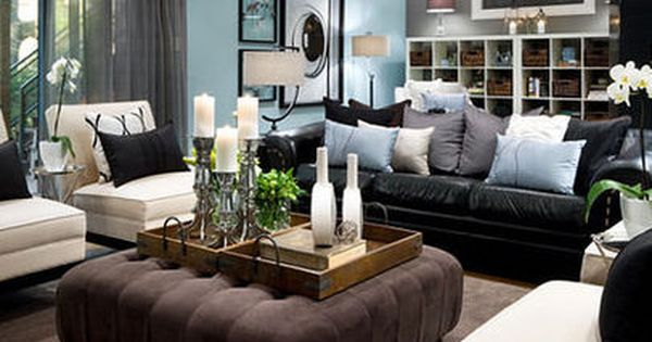Living Room Decorating Ideas Black Leather Couch Black