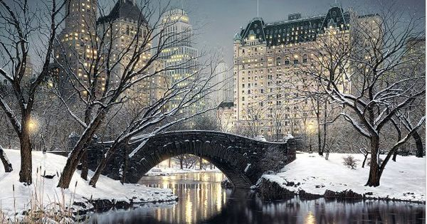 Twilight in Central Park, New York City Winter Scenes by Rod Chase
