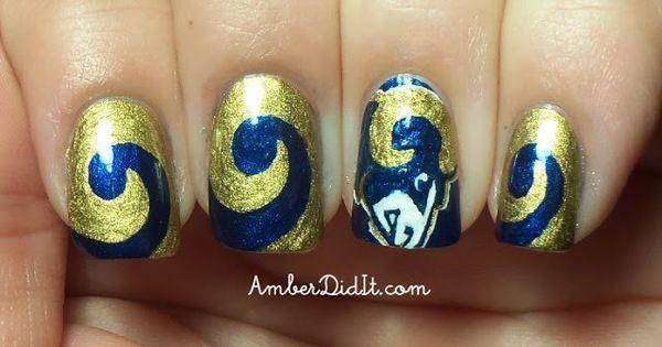 Go Rams Next S Season Nyc Nails Nfl Nails Football Nail Designs