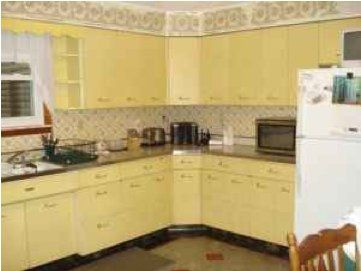 Yellow Geneva Metal Kitchen Cabinets Retro Renovation In 2020 Metal Kitchen Cabinets Metal Kitchen Kitchen Cabinets
