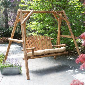 Coral Coast Rustic Oak Log Curved Back Porch Swing And A Frame Set Porch Swings At Hayneedle Krylco Kacheli Derevyannye Kacheli Kacheli