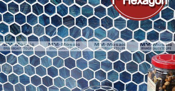 MM azul hexagonal telhas de mosaico para cozinha backsplash ...