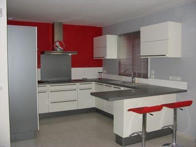 dco cuisine rouge et gris - Cuisine Grise Et Blanc