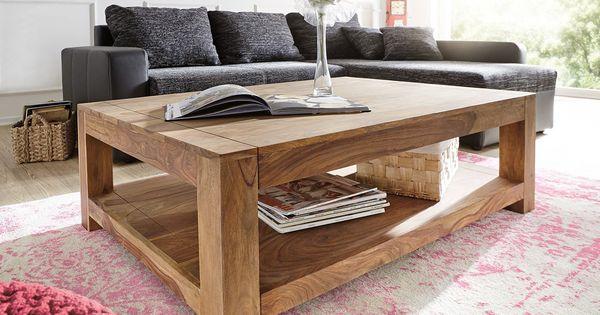 Couchtisch 120x80 cm sheesham natur massivholz ablage for Besondere couchtische