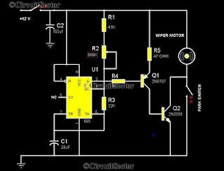Car Wiper Control Using 555 Circuit In Rainy Seasons It Is Very Annoying That Wiper Of Your Car Wiping Ins Car Wiper Electronics Circuit Electronic Schematics