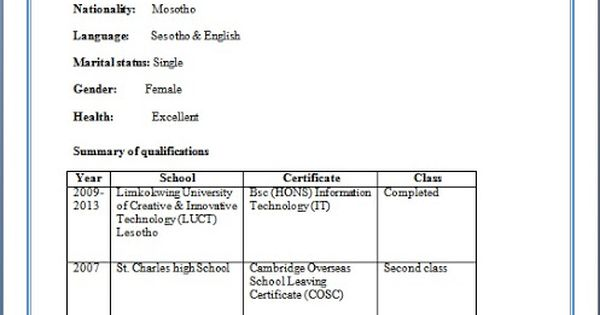 BSc Honours in Information Technology Fresher Resume Format in - information technology specialist sample resume