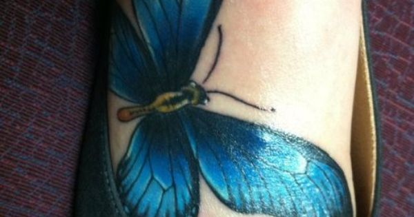 3d butterfly tattoos for women | Blue butterfly foot tattoo cover up