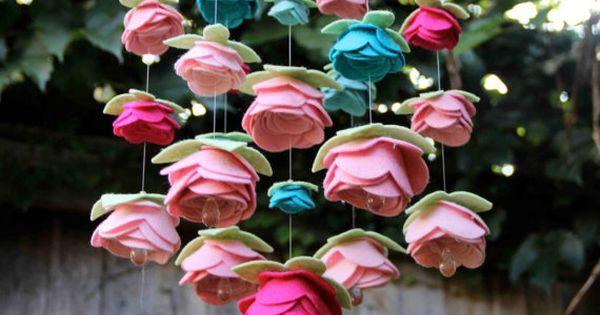 Felt Flower Rose Mobile