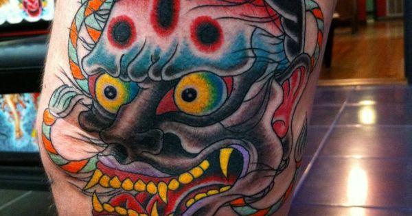 Traditional japanese hannya mask tattooed by jeremy for Tattoo corpus christi