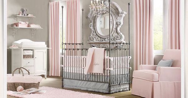 girl nursery ideas | Elegant pink white gray baby girl room
