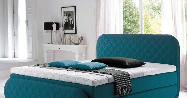 das boxspringbett in t rkis mit matratze 3 teilig ist. Black Bedroom Furniture Sets. Home Design Ideas